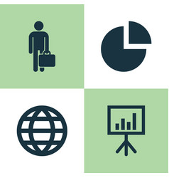 Business icons set collection of pie bar work vector