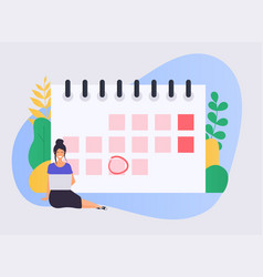 business woman with a laptop have a calendar plan vector image