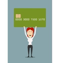 Businesswoman holding credit card above head vector