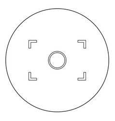 camera focus icon black color in circle vector image