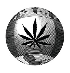 cannabis day logo hand drawing vintage style vector image