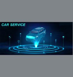 Car auto service in futuristic style hud vector