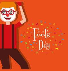 cartoon man wearing clown mask glasses fools day vector image