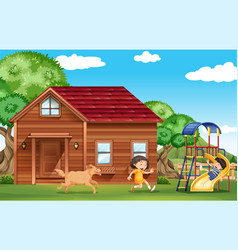 Children playing outside with dog vector