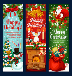 christmas and new year banner with santa gift vector image