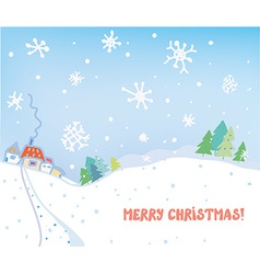 Christmas card with village houses forest and snow vector image