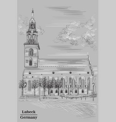 Church of st mary in berlin grey vector