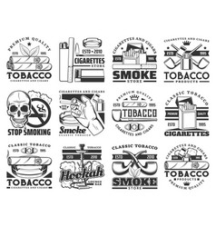 Cigarette pack cigar pipe tobacco leaf icons vector