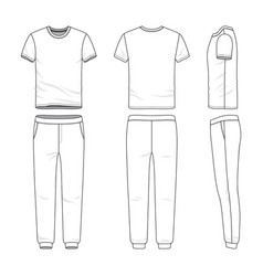 clothing set of t-shirt and sweatpants vector image