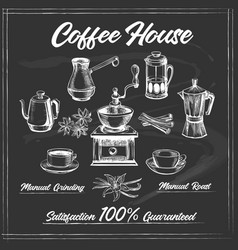 coffee house poster on chalkboard vector image