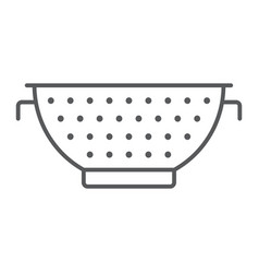 Colander thin line icon kitchen and cooking vector