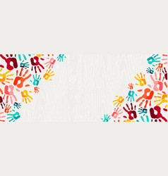 colorful hand print paint background art vector image