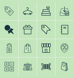 commerce icons set with barcode paper tag label vector image