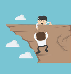 concept cartoon business man on top mountain vector image