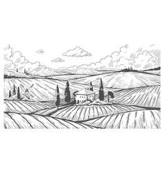 Countryside engraving vintage landscape sketch vector