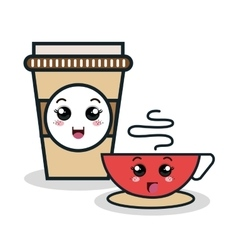 Cup coffee plastic facial expression vector