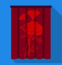 Curtains single icon in flat stylecurtains vector