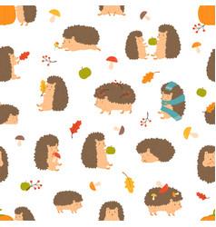 cute cartoon funny hedgehogs seamless pattern vector image