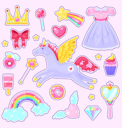 cute girls stickers vector image