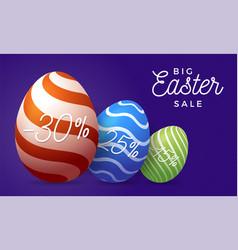 easter egg sale horizontal banner easter card vector image