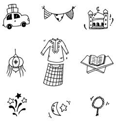 Element eid mubarak in doodle vector