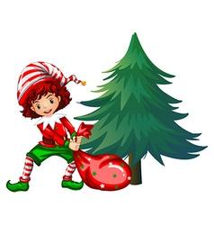 Elf dragging bag under the tree vector