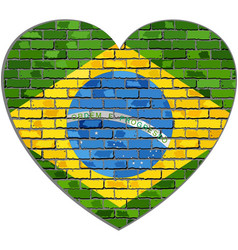 flag of brazil on a brick wall in heart shape vector image