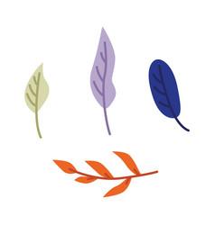 flat abstract blue orange leaves set vector image