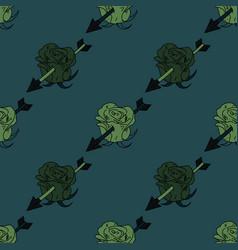 Flower hit by arrow seamless pattern vector
