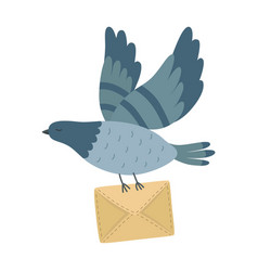 flying post pigeon with a letter isolated vector image
