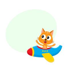 Funny cat kitten pilot character flying on vector