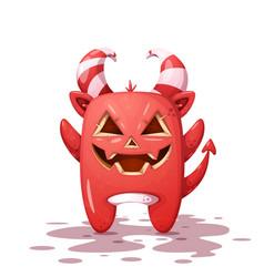 Funny cute crazy devil pumpkin character vector