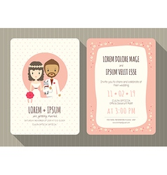 groom and bride cartoon wedding invitation card vector image
