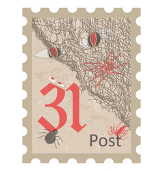 halloween postage stamp vintage style vector image