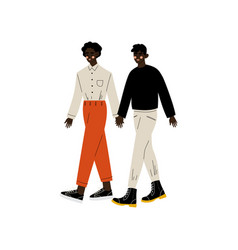 Happy african american gay couple two men holding vector