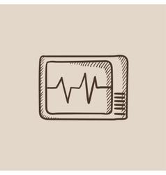 Heart monitor sketch icon vector image