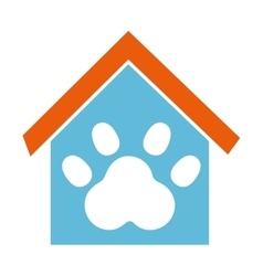 House mascot with footprint icon vector