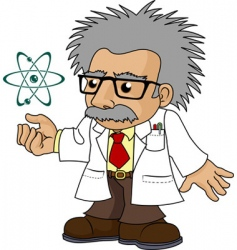 illustration of nutty science professor vector image