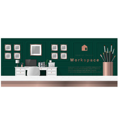 interior design with table top and workplace vector image