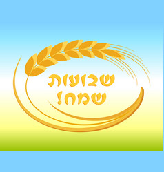 Jewish holiday of shavuot ear wheat frame vector