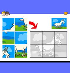 jigsaw puzzles with goat animal character vector image