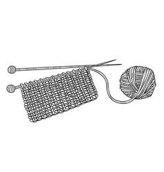 knitting and yarn ball with vector image