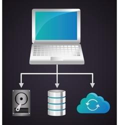 Laptop data center web hosting graphic vector