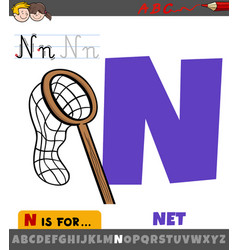 Letter n from alphabet with cartoon net object vector