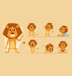 Lion cartoon wild african animal in action poses vector
