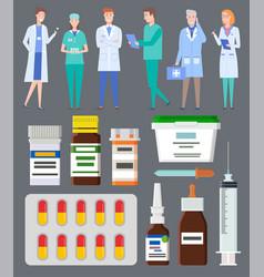 medical staff doctors medics medical web icons vector image
