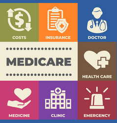 Medicare concept with icons and signs vector