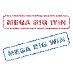Mega big win textile stamps vector