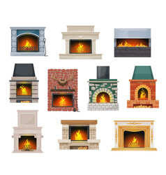 Modern and classic open hearth fireplaces vector