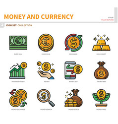 Money and currency icon set vector